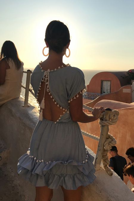 Sunsets, vacation dress, Greece, oia, open back dress, finding beauty mom, summer,   #LTKSeasonal #LTKstyletip