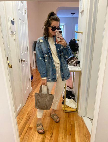 Lou and Grey Sweats Cozy Comfort East outfit Sweat sets Denim jacket Oversized denim Birkenstock  #LTKbacktoschool #LTKunder100 #LTKSeasonal