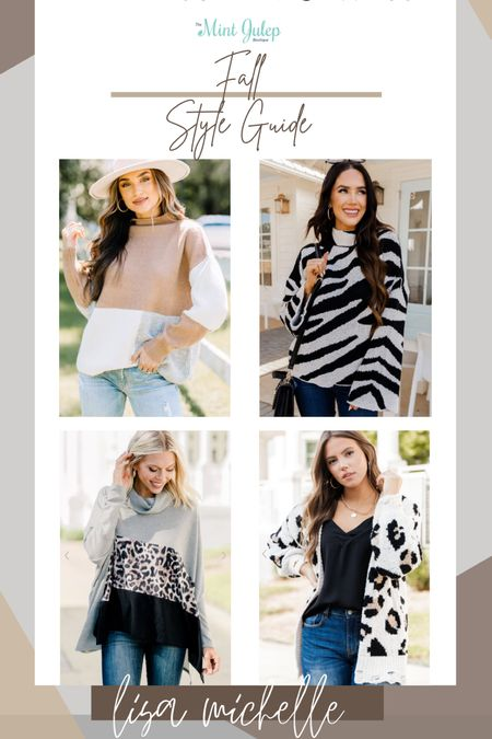 The mint julep boutique. Women's fall sweaters. Color block turtleneck. Leopard cardigan. Zebra print turtleneck. #LTKFall #LikeToKnowIt #LTKUnder100