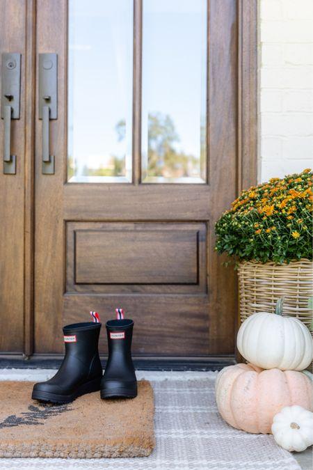 Quintessential fall  Doormat Hunter boots Front porch decor  #LTKSeasonal #LTKhome