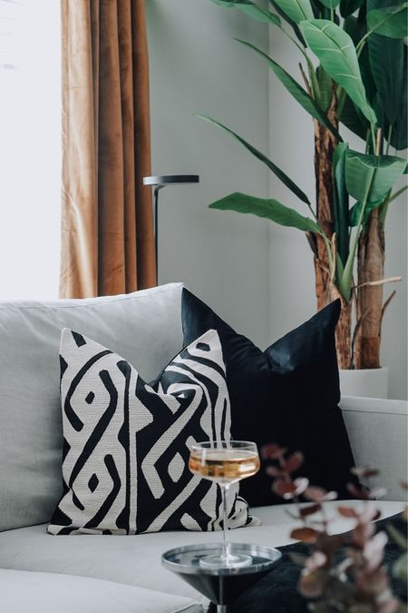 Chic decor for the Fall season. Velvet curtains in a warm color, pillow covers, candles, and vases. All on sale!  #LTKhome #LTKunder100 #LTKSeasonal