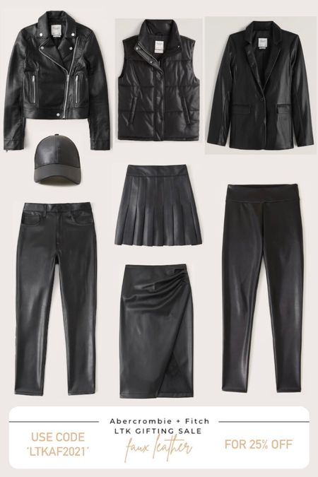 Abercrombie & Fitch 25% off sale. Women's fall fashion. Faux leather favorites. Leather pants. Leather jacket. Leather blazer. Leather vest. Leather hat. Leather skirt.  #LTKsalealert #LTKunder100 #LTKSale