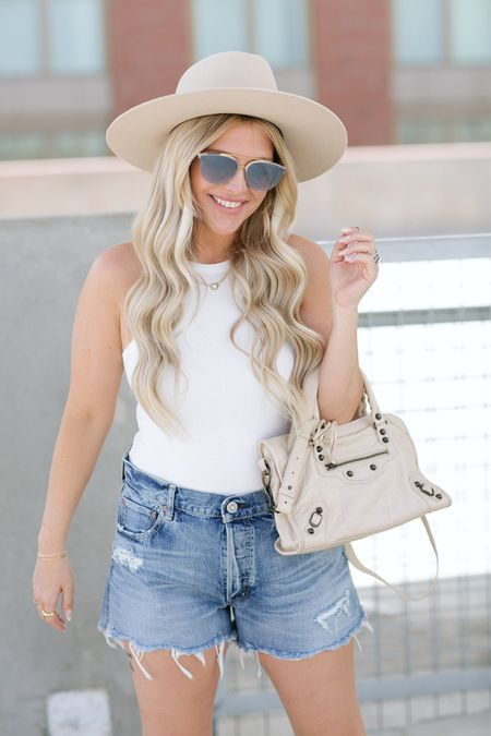Summer Style 101: You can never go wrong with denim shorts, a white top, and a classic nude bag. Add some gold jewelry and a hat and you are all set ✨   http://liketk.it/3fsbS #LTKstyletip #LTKtravel #liketkit #LTKsalealert @liketoknow.it