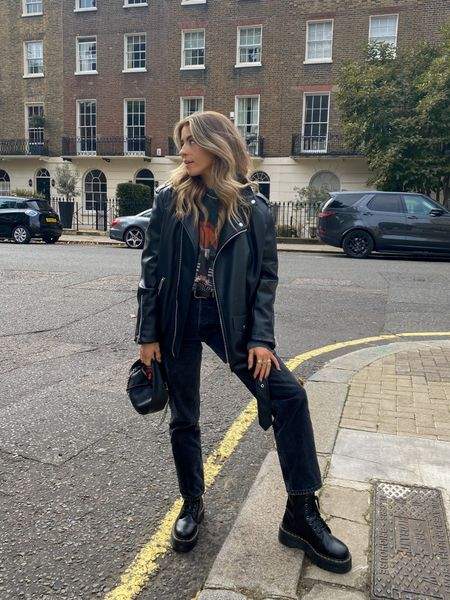 Biker chick vibes   I love this Missguided oversized leather jacket layered over this Anine bing sweatshirt for a layered autumn look! I've teamed both pieces with a pair of topshop dad jeans for a casual look! I've finished it off with a pair of dr marten boots and my by far bag     #LTKeurope