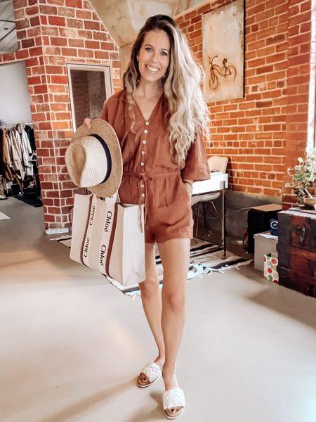 Romper, summer outfit, sandals, tote, Chloe   #LTKtravel #LTKshoecrush #LTKSeasonal