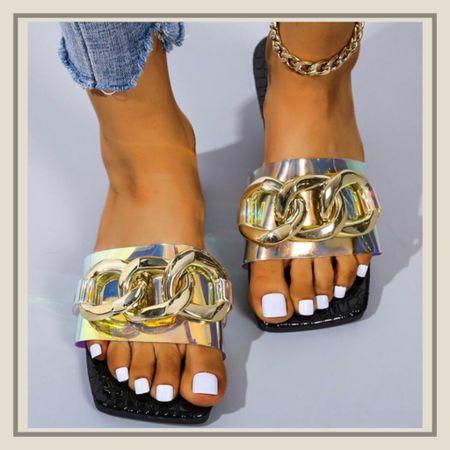 Holographic chain decor summer sandals   http://liketk.it/3idBu #liketkit @liketoknow.it #LTKunder50 #LTKshoecrush #LTKstyletip You can instantly shop my looks by following me on the LIKEtoKNOW.it shopping app