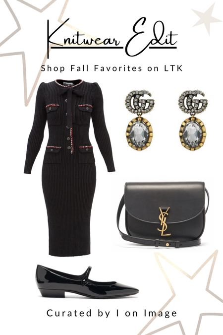 Parisian chic for autumn: Self-Portrait ribbed black knitted midi dress with long sleeves, chic crystal-embellished buttons and a pussy-bow. Styled with Saint Laurent patent-leather flat Mary Janes, Kaia cross-bodybag with YSL-plaque and double G-logo and crystal drop earrings 🖤  Knitted dress, midi dress, body-con dress, crystal buttons, black dress, Chanel style, feminine style, elegant style, fall fashion, autumn fashion, AW21 #LTKfashion #LTKeurope   #LTKworkwear #LTKitbag #LTKstyletip