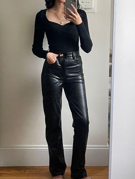 Leather pants, leather pants outfit, all black outfit, black top, fall outfit, fall style, fall look, classic style, straight leg pants   #LTKSale #LTKunder100 #LTKunder50