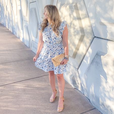 Last night's #ootd for our anniversary dinner. Z took me back to our first date restaurant and then we ventured around downtown. 💙 My dress is sold out in this print but there are two other color options! http://liketk.it/3gk2f #liketkit @liketoknow.it