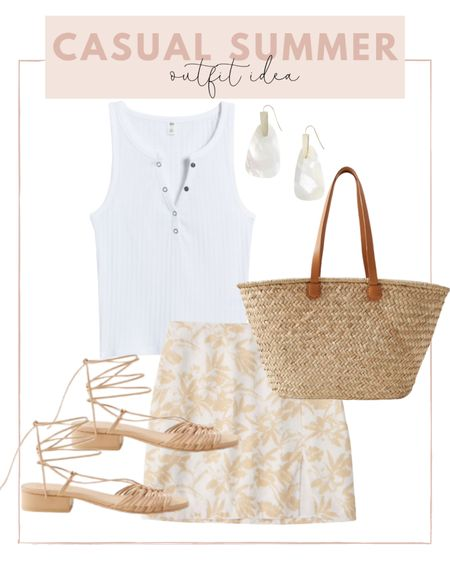 Casual summer outfit idea ☀️ pair a print skirt with a Henley tank and add a straw bag!   #LTKunder100