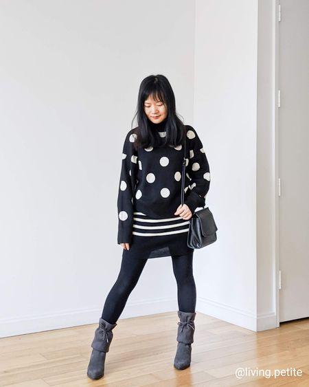 Polka dots sweater top, outfit ideas, sweater tights, otk waterproof boots http://liketk.it/2K3Aa @liketoknow.it #liketkit #LTKstyletip #LTKunder50 #LTKunder100