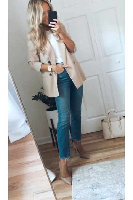 Express blazer Madewell jeans business casual outfit   #LTKunder100 #LTKsalealert #LTKworkwear