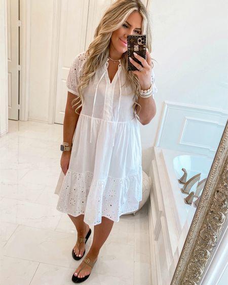 Wearing a medium! Fits TTS! Runs longer! #liketkit @liketoknow.it http://liketk.it/3fc96 #whitedress #lwd #memorialday #summerdress #walmart #LTKunder50 #LTKwedding #LTKstyletip