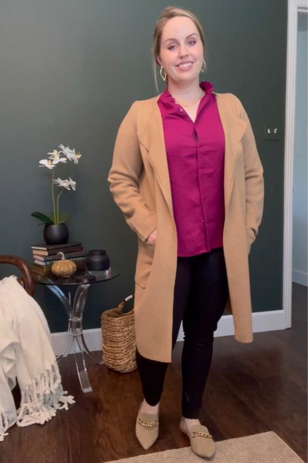 Work outfits, business casual Wearing this express ruffle neck blouse in the color wild orchid (comes in 2 other colors) with black leggings, j.crew sweater blazer and Steve Madden mules  #LTKworkwear #LTKstyletip #LTKunder100