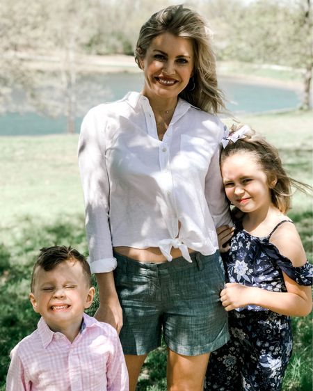 """We had an awesome Easter! 🐰 We hung out at the farm, ate way too much food and brought home some very dirty kiddos. The day was a success. ☀️ Before all that happened we snapped photos in our """"Easter attire"""" and then quickly changed clothes. Lol! I'm sharing my casual Easter outfit all linked below. Entire outfit for under $60! Enjoy 🐣 http://liketk.it/2BkCO #liketkit @liketoknow.it #fashionblogger #kcstyle  #LTKunder100 #LTKspring #LTKgetaway"""