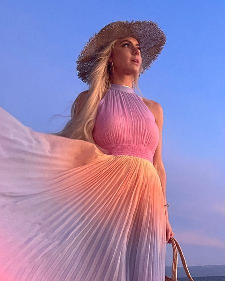 Halter dress, pastel dress, pink dress, ombré dress, vacation outfit, beach look, sun hat, dress for wedding guest #liketkit @liketoknow.it #LTKtravel #LTKwedding #LTKstyletip http://liketk.it/3dQAl