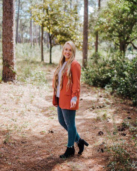 Black and white striped tee with rust blazer and jeans paired with black heeled fashion bootie   http://liketk.it/2HUZG #liketkit @liketoknow.it #LTKshoecrush #LTKsalealert #LTKstyletip