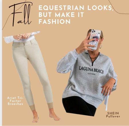 Equestrian style  Preppy style Riding breeches by Ariat Sweater  Sweatshirt Athleisure    #LTKbacktoschool #LTKfit #LTKtravel