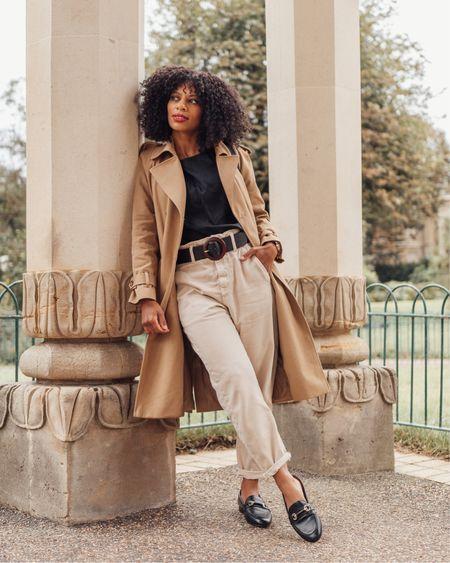 Neutral beige and black outfit. Beige Sezane trench coat, beige balloon, baggy, paperbag  jeans and black loafers.   #LTKshoecrush #LTKeurope #LTKSeasonal