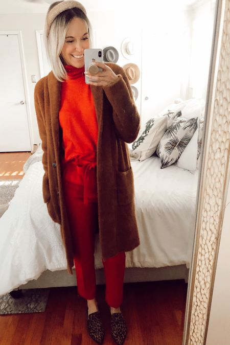 H&M red turtleneck sweater $14 H&M red trousers $25 Christmas throw pillow covers Leopard print mule slides   http://liketk.it/2I6lC @liketoknow.it #liketkit #LTKholidaystyle #LTKshoecrush #LTKhome holiday outfits, Christmas outfits, winter outfits, dressy