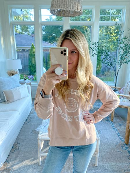 """This """"boat house"""" sweater shirt is 36% off!! So cozy for cooler fall days! Wearing an xsmall!   #LTKunder50 #LTKsalealert"""