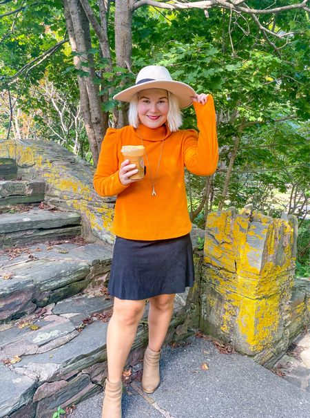 The Dudley Stephen's Palmer Puff in Pumpkin to go with my Pumpkin cream coldbrew.   I sized up one.   It is perfect for the holidays!  Skirt is Pink Lilly and currently sold out, but linked some similar ones.   #LTKworkwear #LTKstyletip #LTKHoliday