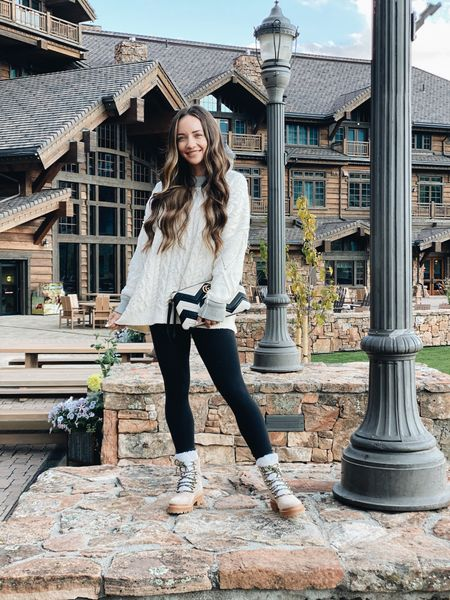 Fall outfit cozy sweater, the best black high rise leggings, hiking ankle boots gg marmont clutch   #LTKSeasonal #LTKstyletip #LTKshoecrush