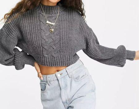 Cropped cable knit sweater   #LTKSeasonal #LTKstyletip #LTKGiftGuide