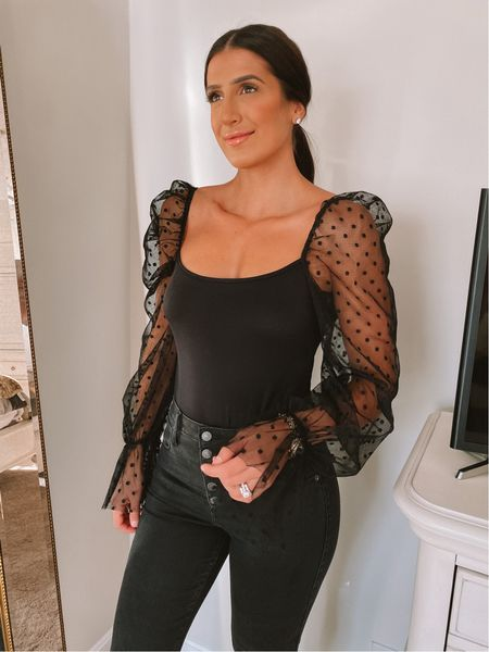 Sheer sleeve bodysuit from Amazon fashion - so high quality and pretty for the holidays! Wearing a medium.   #LTKunder50 #LTKsalealert
