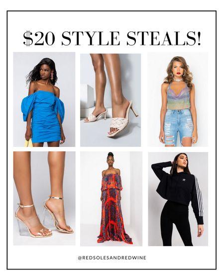 $20 Style Steals!!   Shoes on sale, dresses on sale, wedding guest dresses on sale, style steals, daily finds, Akira finds   #LTKstyletip #LTKunder50