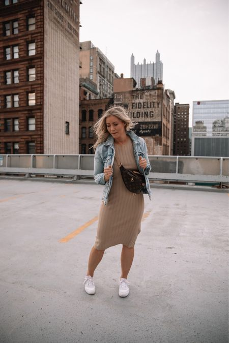 The easiest every midi dress! Style it as shown here with your fave sneaker and a denim jacket or dress it up with a strappy heel! All pieces are on sale in the Anniversary Sale! Nordstrom, Nsale http://liketk.it/3jBtq  #liketkit #LTKstyletip #LTKsalealert @liketoknow.it