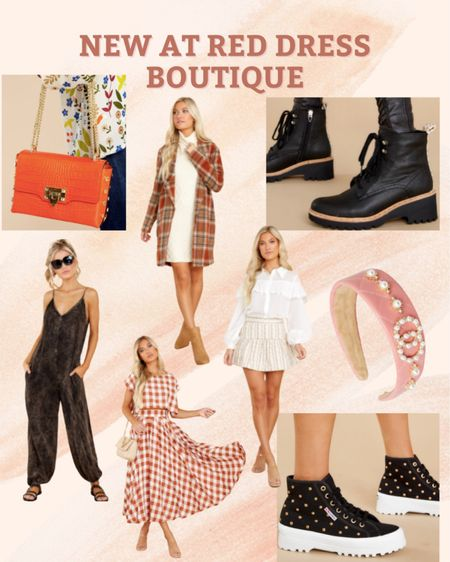 New at Red Dress Boutique  Fall style, black booties, fall dresses, plaid coat  #LTKunder100 #LTKshoecrush #LTKstyletip