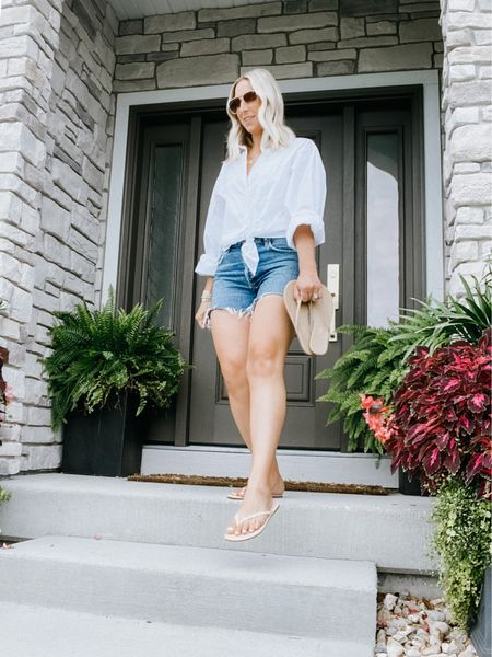 Summer outfit keeping it comfortable Tkees sandals!   Use code SARAH10 at checkout for 10% your order at Tkees.com   Agolde jean shorts  White button up shirt  Easy summer look, travel outfit, travel sandals, nude sandals, Tkees, mom outfit, capsule wardrobe.     #LTKstyletip #LTKtravel #LTKshoecrush