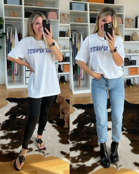 Mint Julep try on mom jeans straight leg denim graphic tee sports tee crossover leggings casual outfit ideas Bottoms In my normal small/26 Graphic tee sized up to a large   #LTKGiftGuide #LTKSeasonal #LTKstyletip