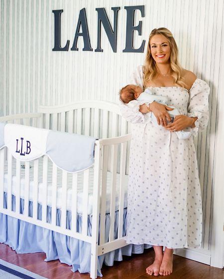 Baby boy nursery smocked puff sleeve dress blue and white decor   #LTKfamily #LTKhome #LTKbaby
