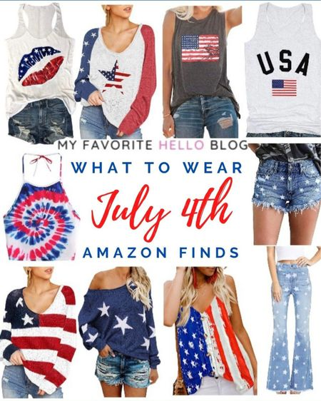 Fourth of July outfits. July 4th tops. Star shorts. Star jeans. Stars and Stripes tops. Outfits for July 4th. http://liketk.it/3g6Mq #liketkit @liketoknow.it #LTKhome #LTKunder50 #LTKstyletip #july4 #fourthofjuly #july4thoutfits