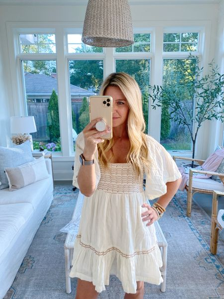 """Love this dress but warning it's short!! I'm 5'5"""" and felt a tad too short for me. Wearing an xsmall. On a petite frame this could be perfect for fall photos!   #LTKSeasonal"""