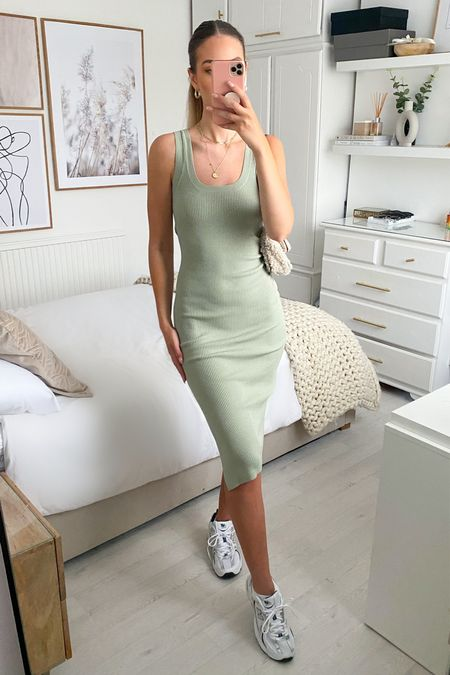 Amazon fashion sage green midi knit dress   #LTKsalealert #LTKfit #LTKSeasonal