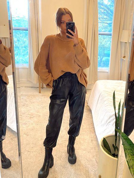 neutral fall street style, leather joggers, free people oversized sweater, nasty gal platform black boots   #LTKSeasonal #LTKHoliday #LTKstyletip