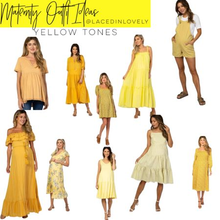 Cute Maternity styles in yellow tones! These maternity styles are comfy and great quality. Pink Blush has a discount code at the top of their website that changes daily. Today it is code SWEETDEAL for 30% off dresses. 25% off bottoms, and 20% off tops.  I wear a size medium unless otherwise noted!  #LTKsalealert #LTKbump #LTKbaby