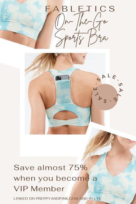 Fabletics sports bra. Sports bra with pockets. Blue tie dye. Fitness outfit.   #LTKfit #LTKsalealert #LTKunder50