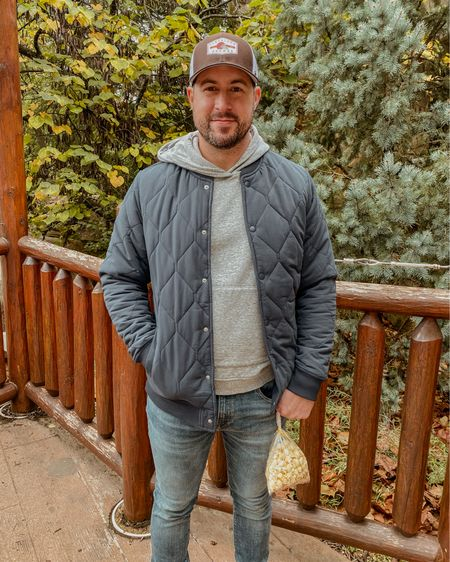 """Dane found the perfect quilted men's jacket on Amazon after years of searching, so I had to share. He has a longer torso and hated how short other bomber jackets were. But this one comes in a """"tall"""" length that fits great. He's wearing a """"medium tall"""" here and he's 5'9. Click to shop! 🤍  #LTKmens #LTKfamily #LTKSeasonal"""
