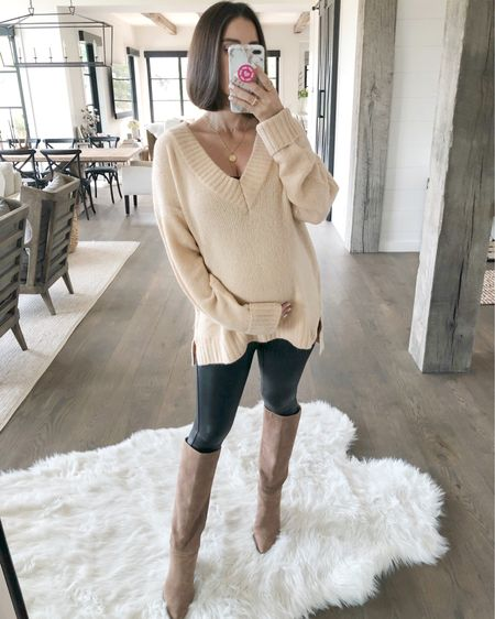 F A S H I O N // Friday FINDS combing in hot with this $20 nude sweater!! It's oversized and perfect to pair with leggings and booties!!🍁🍂 Shop it here on the @liketoknow.it app!! I'm wearing a medium🙋🏻♀️  #fallfashion #sweaterweather #sweaters #booties #boots #leggings #LTKunder50 #LTKshoecrush #LTKbump #LTKstyletip #liketkit // http://liketk.it/2EIS5