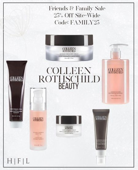 My favorite products from Colleen Rothschild!! Entire site is 25% off right now! Complete Eye Cream, retinol supreme night oil, triple defense sunscreen broad spectrum spf 40, quench and shine restorative shampoo, extreme recovery face cream, sheer renewal cream, Her Fashioned Life  #LTKunder100 #LTKstyletip #LTKbeauty