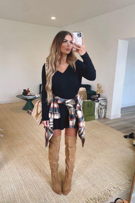 Nordstrom Anniversary Sale 2021 BB Dakota Sweater Dress - size small BlankNYC Plaid Shacket - size small Treasure + Bond OTK Boots - TTS    #LTKshoecrush #LTKunder100 #LTKsalealert
