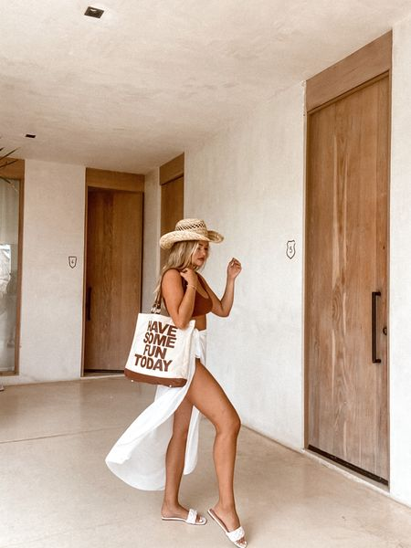 Wearing size M in the bikini! The bag is from havesomefuntoday.com 🤍  #LTKtravel #LTKswim #LTKunder50