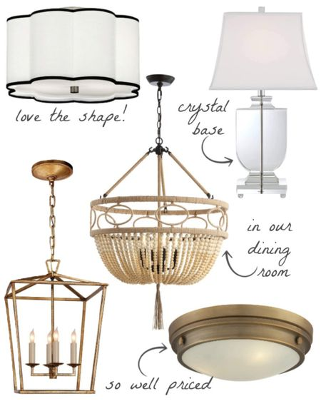 Favorite lighting in our home! The flush mount light fixture and acrylic lamp in our bedroom, beaded chandelier in our dining room, kitchen pendants, and laundry room ceiling light. (home decor ideas)  #LTKhome #LTKunder100