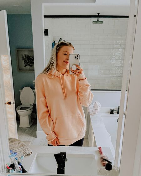 I have this in peach! Jay also got the beige one (which I also wear & love)! Wearing size large for an oversized look! So cozy too! @liketoknow.it #liketkit http://liketk.it/38Vok #StayHomeWithLTK #LTKunder50 #LTKmens