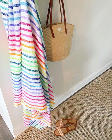 Summer Essentials: Rainbow Beach Blanket, Straw Tote, Amazon Sandals under $30  #LTKunder50 #LTKSeasonal #LTKswim