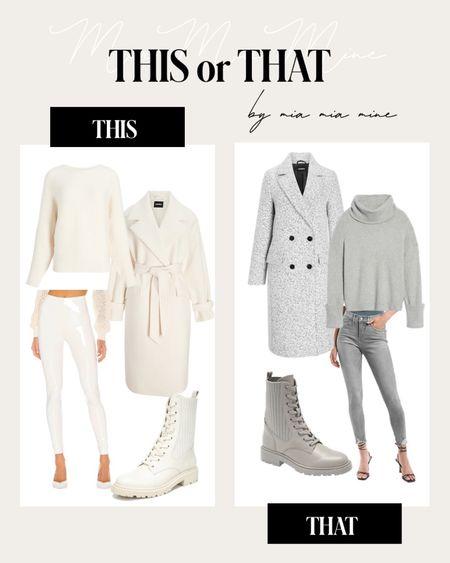 Fall outfit ideas  Express white coat / express gray coat Express ribbed sweater Sam Edelman white combat boots/ gray combat boots   #LTKunder100 #LTKSeasonal #LTKshoecrush